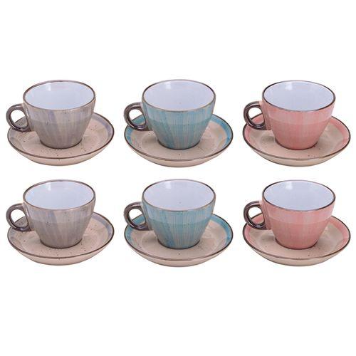 Jogo de Xícaras para Chá em Porcelana Bon Gourmet Watercolor 200ml 6 Peças Color