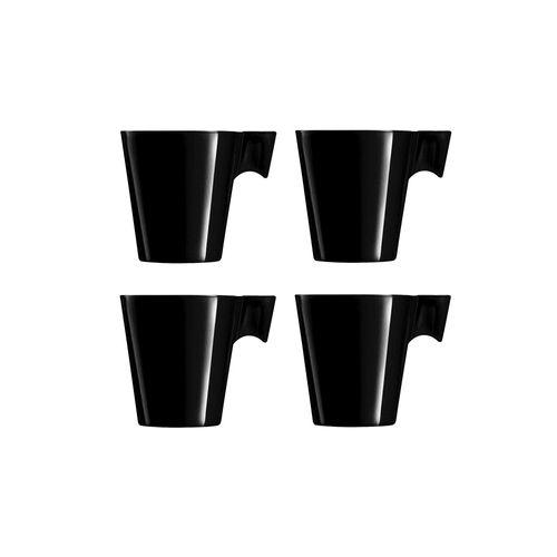 Jogo de Xícaras para Expresso em Vidro Marcamix Napoli Black Bright 80ml 4 Peças Preto