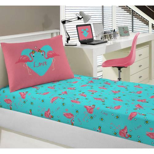 Jogo Lençol Simples Infantil 100% Algodão Portallar Flamingos