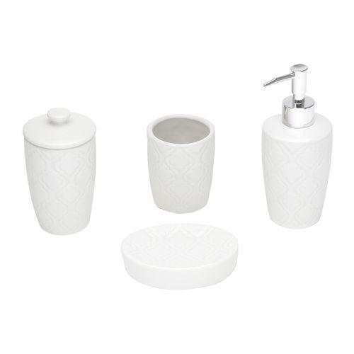 Jogo para Banheiro em Cerâmica Lyor Rio 4 Peças Branco