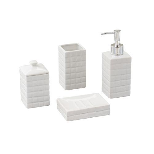 Jogo para Banheiro em Cerâmica Lyor Space 4 Peças Branco