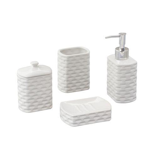 Jogo para Banheiro em Cerâmica Lyor Tiles 4 Peças Branco