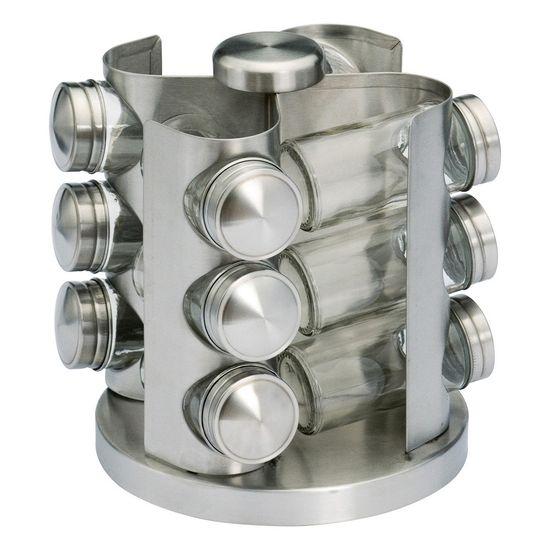 Jogo Porta Condimentos de Vidro com Base Giratória para 12 Potes de Aço Inox
