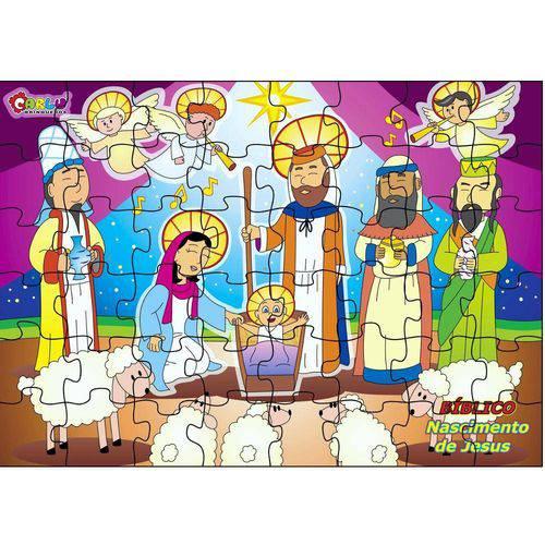 Jogo Quebra-Cabeça Bíblico Nascimento de Jesus em Mdf 1507 - Carlu