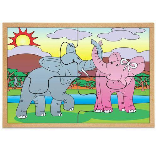 Jogo Quebra-Cabeça Casal Elefantes com 4 Peças + 1 Base 1280 - Carlu