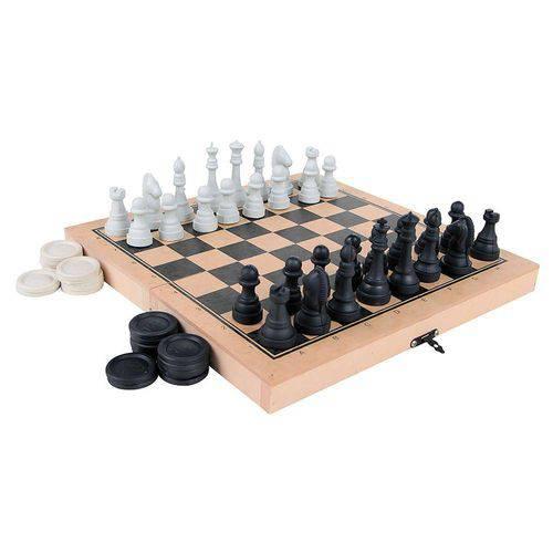 Jogo Xadrez e Damas Colegial - Rei 5 Cm - 56 Peças - Caixa Colorido Carlu Brinquedos