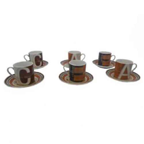 Jogo Xicara 12 Peças Porcelana Cafe Coffee