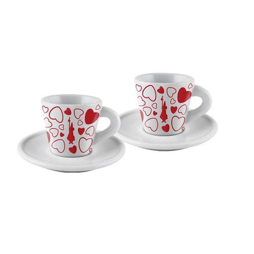 Jogo 2 Xícaras Espresso com Pires em Porcelana Cuore 45ml - Bialetti