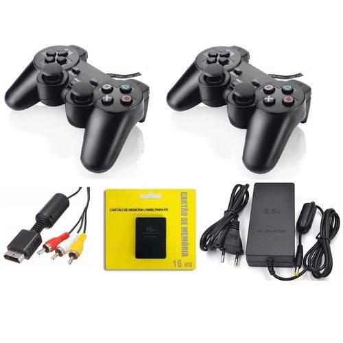 2 Joystick Ps2 + Fonte Play 2 + Cabo Av + Mcard Playstation
