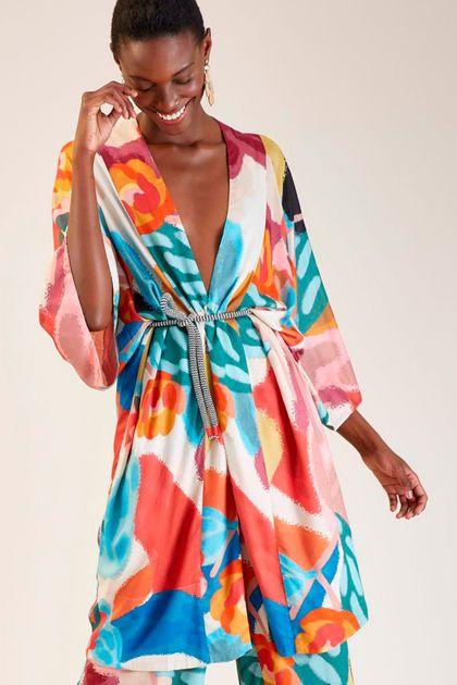 Kimono Cantão Estampa Ternura Especial - Multicolorido