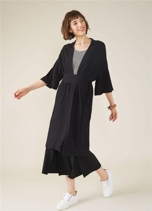 Kimono Malha Crepe Preto P