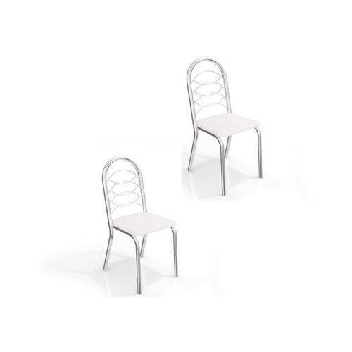Kit 02 Cadeiras para Cozinha Holanda 2c009cr Cromado/branco - Kappesberg