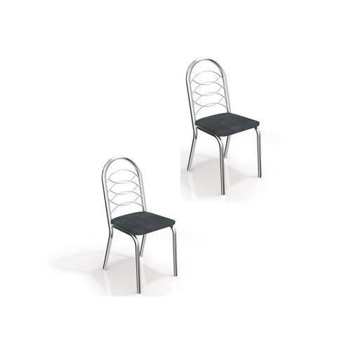 Kit 02 Cadeiras para Cozinha Holanda 2c009cr Cromado/preto Linho Cinza - Kappesberg