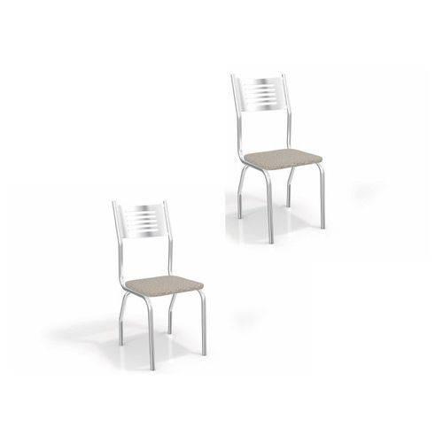 Kit 02 Cadeiras para Cozinha Munique 2c047cr Cromado/linho Marrom - Kappesberg