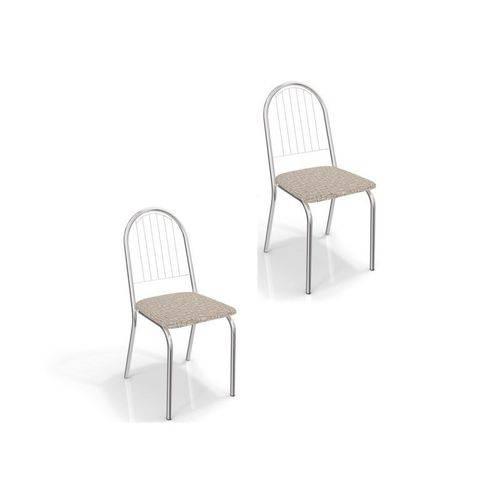 Kit 02 Cadeiras para Cozinha Noruega 2c077cr Cromado/linho Marrom - Kappesberg