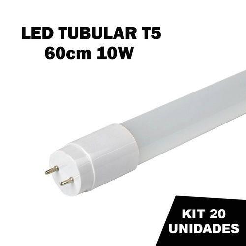 Kit 20 Lâmpada Tubular Led T5 Bivolt 60cm Branco Frio 6000k 10w