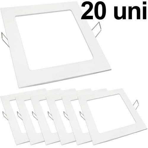 Kit 20 Luminária Plafon Led 18w Embutir Quadrado Branco Frio