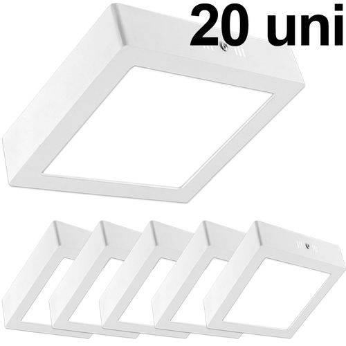 Kit 20 Luminária Plafon Led 25w Sobrepor Quadrado Branco