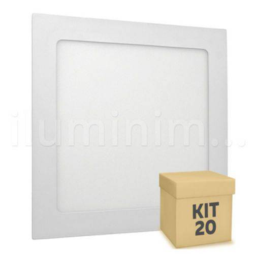 Kit 20 Plafon Led Luminaria Embutir 18w Slim Quadrado Branco Quente