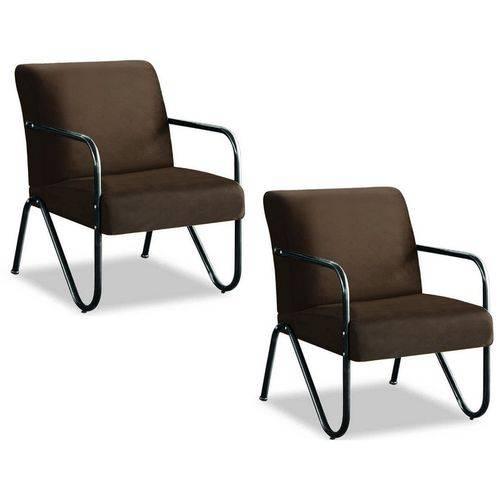 Kit 02 Poltrona Cadeira Aspen para Recepção Sala de Espera Consultório Escritório