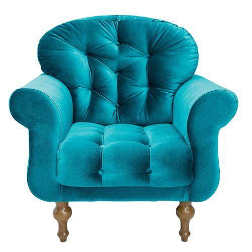 Poltrona Cadeira Decorativa Dani Sala Escritório Suede Azul Acetinado