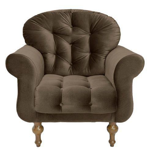 Poltrona Cadeira Decorativa Dani Sala Escritório Suede Marrom