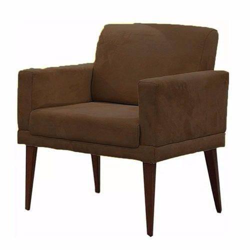 Kit 02 Poltrona Cadeira Decorativa Emília Escritório Suede Marrom