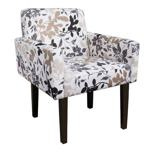 Poltrona Cadeira Decorativa Lais Sala Escritório Estampa Floral Marrom
