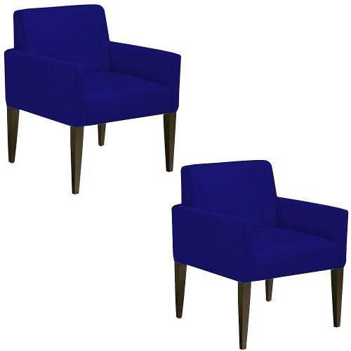 Kit 02 Poltrona Cadeira Decorativa Lais Sala Escritório Suede Azul Marinho