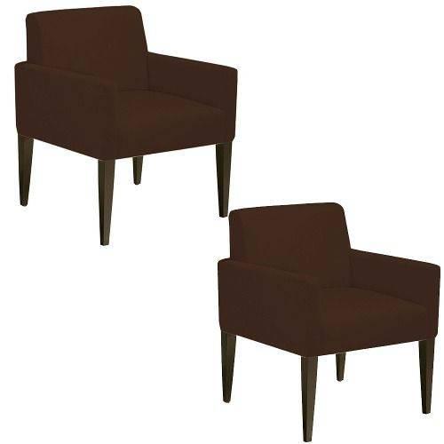 Kit 02 Poltrona Cadeira Decorativa Lais Sala Escritório Suede Marrom