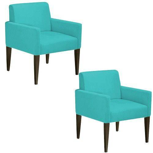 Kit 02 Poltrona Cadeira Decorativa Lais Sala Escritório Suede Tiffany