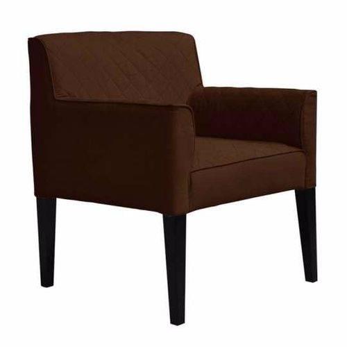 Poltrona Cadeira Decorativa Livia Sala Escritório Suede Marrom