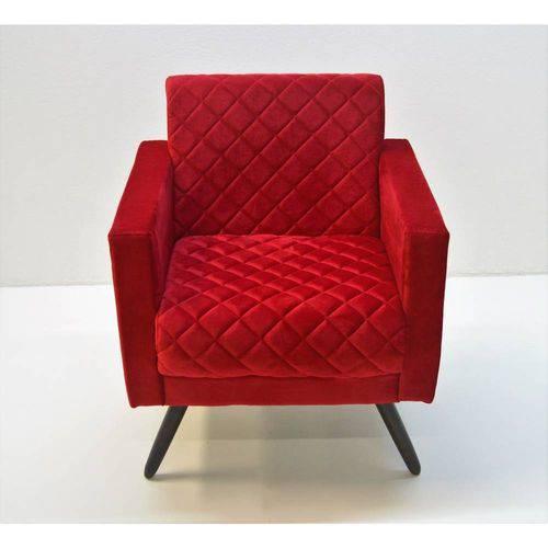 Poltrona Cadeira Decorativa Mara Sala Escritório Suede Vermelho
