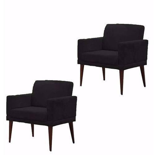 Kit 02 Poltrona Cadeira Decorativa Mia Escritório Suede Preto