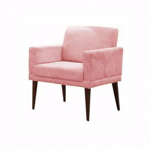 Poltrona Cadeira Decorativa Emília Escritório Suede Rose