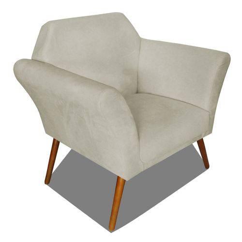 Poltrona Cadeira Anitta Sala Quarto Recepção Escritório Consultório Suede Bege - AM DECOR