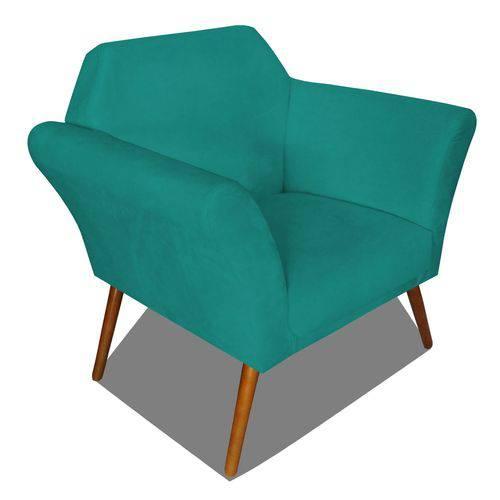 Poltrona Cadeira Anitta Sala Quarto Recepção Escritório Consultório Suede Azul Turquesa - AM DECOR