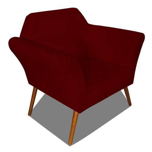 Poltrona Cadeira Anitta Sala Quarto Recepção Escritório Consultório Suede Bordô - AM DECOR