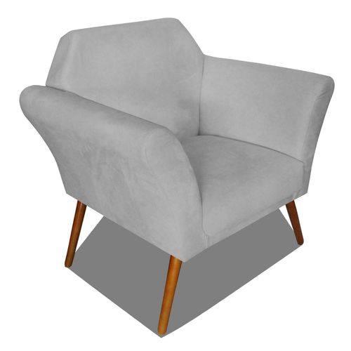 Poltrona Cadeira Anitta Sala Quarto Recepção Escritório Consultório Suede Cinza - AM DECOR