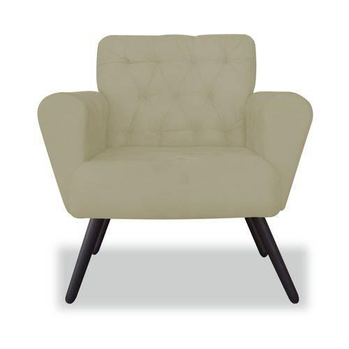 Poltrona Cadeira Eva Sala Quarto Recepção Escritório Consultório Corino Bege - AM DECOR