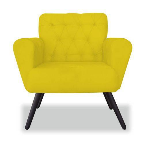 Poltrona Cadeira Eva Sala Quarto Recepção Escritório Consultório Corino Amarelo - AM DECOR