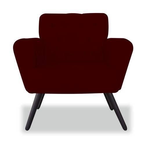 Kit 02 Poltronas Cadeira Eva Sala Quarto Recepção Escritório Consultório Suede Bordô - AM DECOR