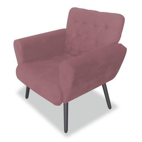 Poltrona Cadeira Eva Sala Quarto Recepção Escritório Consultório Suede Rose - AM DECOR