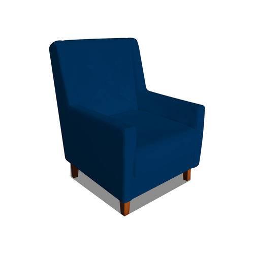 Poltrona Cadeira Mari Sala Quarto Recepção Escritório Consultório Corino Azul Marinho - AM DECOR