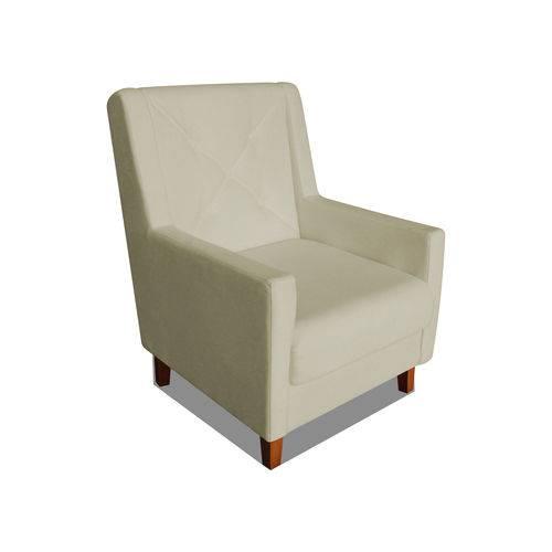 Poltrona Cadeira Mari Sala Quarto Recepção Escritório Consultório Corino Bege - AM DECOR