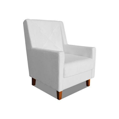 Poltrona Cadeira Mari Sala Quarto Recepção Escritório Consultório Corino Branco Neve - AM DECOR