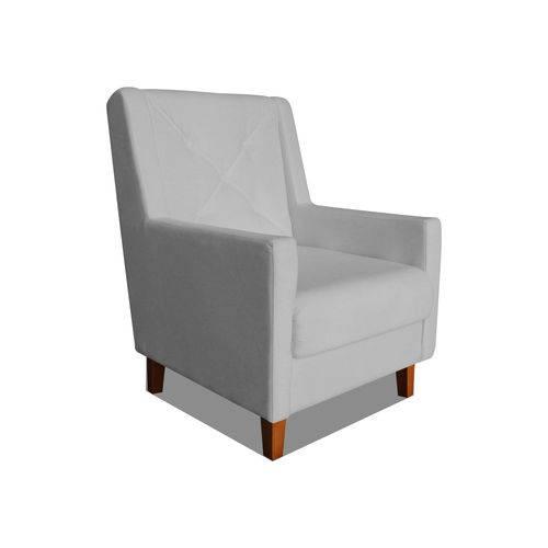 Poltrona Cadeira Mari Sala Quarto Recepção Escritório Consultório Corino Cinza - AM DECOR