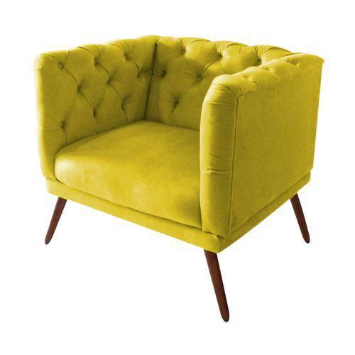 Poltrona Cadeira Maria Sala Quarto Recepção Escritório Consultório Corino Amarelo - AM DECOR
