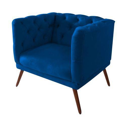 Poltrona Cadeira Maria Sala Quarto Recepção Escritório Consultório Corino Azul Marinho - AM DECOR