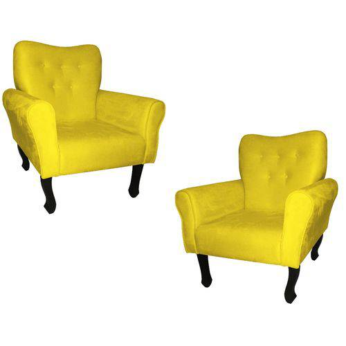 Kit 02 Poltronas Cadeira Nanda para Escritório e Consultório Sala Recepção Corino Amarelo
